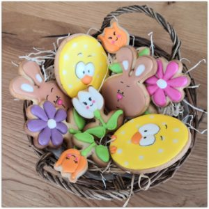 Allerlei Ostercookies – Osterhasen, Küken-Eier und Blumen Cookies